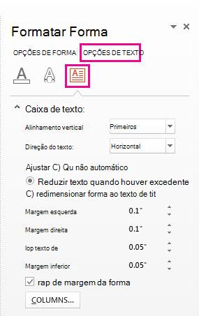 Configurações de margem da caixa de texto