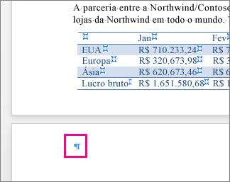 Marca de parágrafo vazio é realçada na página após uma tabela