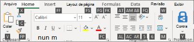 Dicas de tecla da faixa de opções do Excel