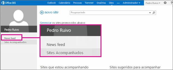 Captura de tela da página Sites com o link News Feed realçado