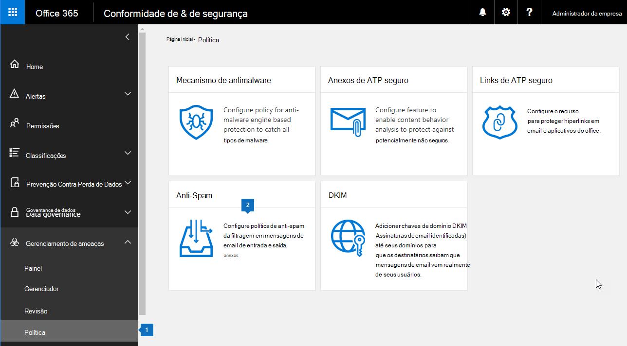 Esta captura de tela mostra como acessar a página de configurações do anti-spam no Centro de conformidade de segurança.