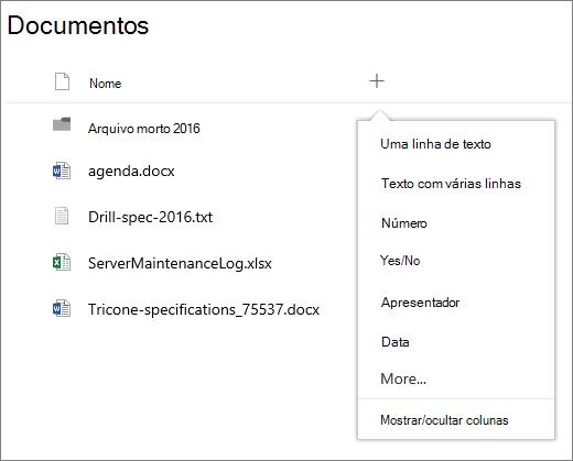 Adicionar uma lista suspensa de colunas em um grupo biblioteca de documentos conectada
