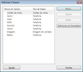 A caixa de diálogo Adicionar Campos