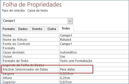 Mostrar Propriedade do seletor de data na folha de propriedades de um formulário