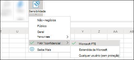 Aplicar rótulos de sensibilidade de documento Excel do Home > Sensitivity