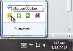 Área de notificação expandida para mostrar o ícone do Outlook