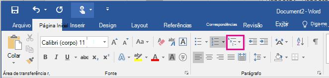 O ícone Lista de Vários Níveis