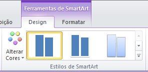 Grupo Estilos de SmartArt na guia Design em Ferramentas de SmartArt