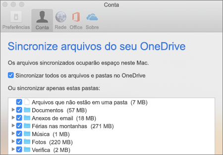 Caixa de diálogo Sincronizar Pastas do OneDrive para Mac