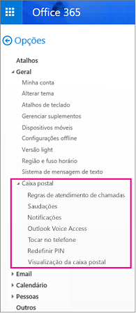 Opções de caixa postal no painel de opções de email do Outlook