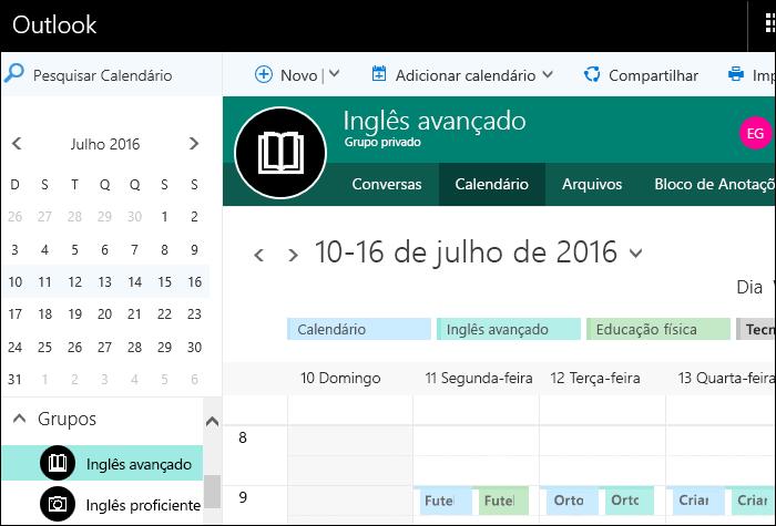Exemplo de um calendário no Classroom