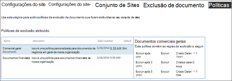 Políticas de exclusão de documento atribuídas a um conjunto de sites