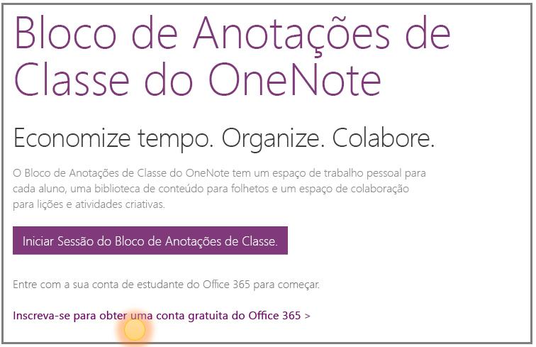 Captura de tela de como criar uma conta gratuitamente no Office 365.