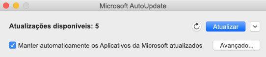 Janela do Microsoft AutoUpdate quando há atualizações disponíveis.