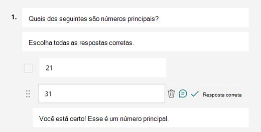 Mensagem de resposta correta personalizada no Microsoft Forms