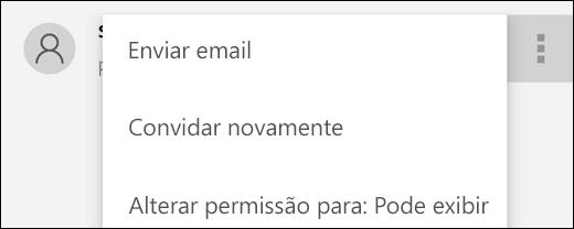 As opções de Gerenciar Usuário permitem que você reenvie um convite ou altere o acesso do usuário ao arquivo.