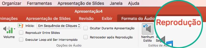 Quando um clipe de áudio é selecionado em um slide, uma guia Reprodução é exibida na faixa de opções da barra de ferramentas para definição das opções de reprodução.