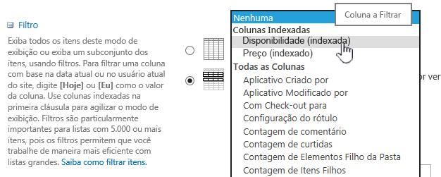 No SharePoint Online, escolha um campo indexado