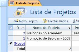 O modelo de banco de dados de Projetos