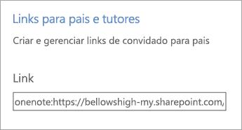 Hiperlink de links para pais e tutores em Gerenciar Blocos de Anotações.