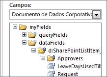 Selecionar uma lista de campos de dados