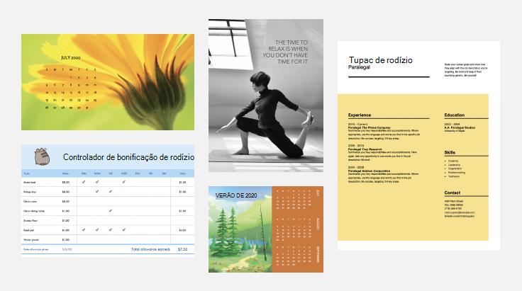 calendários, um currículo e um pôster