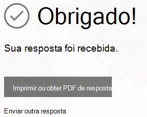 Um aviso para baixar ou imprimir o recibo do envio