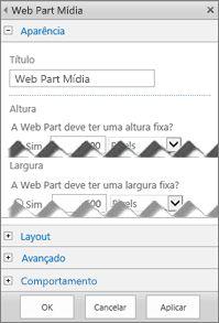 Captura de tela do painel de edição da Web Part Mídia, exibindo algumas das propriedades que podem ser configuradas