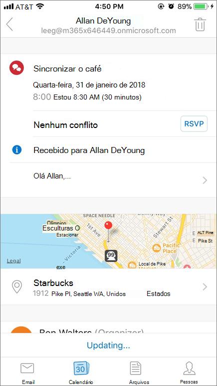 Captura de tela que mostra a tela do dispositivo móvel com o item de convite do calendário.