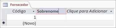Trecho de tela de campo para adicionar um nome descritivo para uma coluna