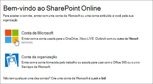 Uma captura de tela mostrando a tela de entrada do SharePoint Online.