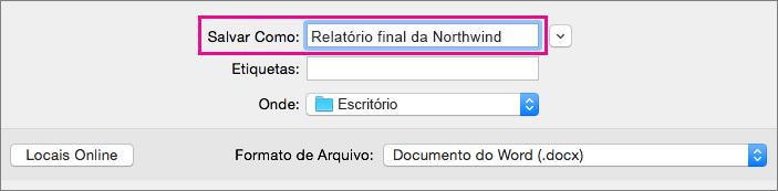 Na caixa Salvar como, insira ou modifique o nome do arquivo do documento atual.