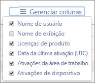 Relatórios do Office 365 – Colunas disponíveis na ativação do Office