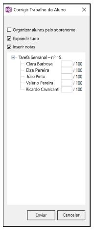 Captura de tela da opção Inserir Notas no suplemento Bloco de Anotações de Classe.