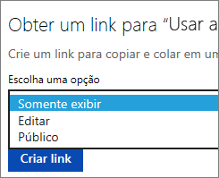 Escolhendo a opção Exibir somente antes de criar um link para ser copiado e colado