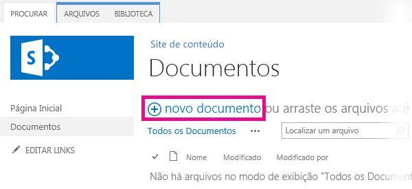 Clicar em Adicionar para arrastar arquivos para a Biblioteca