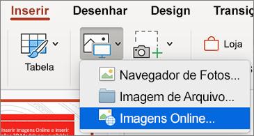 Menu Inserir mostrando o comando Imagens Online