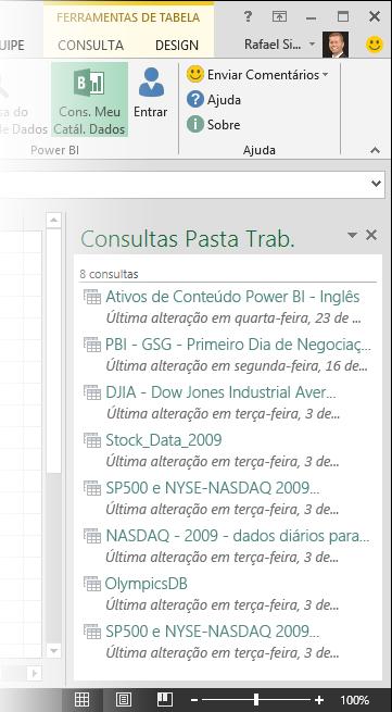 Painel Minhas consultas de catálogo de dados