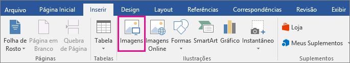 O ícone Imagens é realçado na guia Inserir