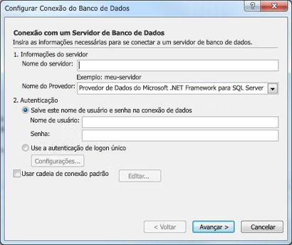 Configurar a caixa de diálogo de conexão ao banco de dados