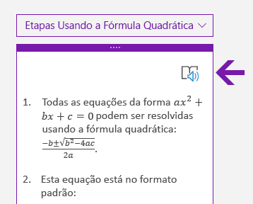 Ícone do Leitor Imersivo no painel Matemática no OneNote para Windows 10