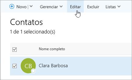 Uma captura de tela do cursor do mouse passando sobre o botão Editar na página Pessoas.