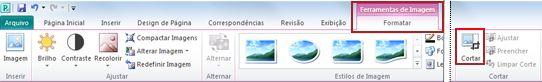 A faixa de opções de comando Cortar da guia de formato de ferramentas de imagem no Publisher