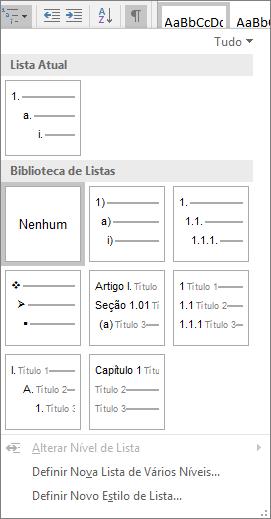 Escolha o botão Lista de Vários Níveis para adicionar numeração a um estilo de título interno, por exemplo, Título 1 em seu título do documento.