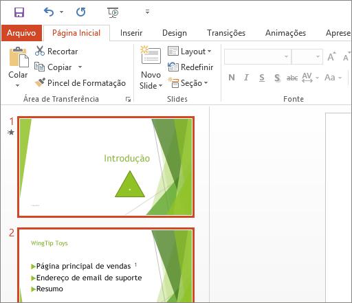 Mostra o PowerPoint 2016 com o Tema Branco aplicado.