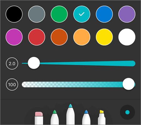 Estilos de caneta de marcação em PDF do OneDrive para iOS
