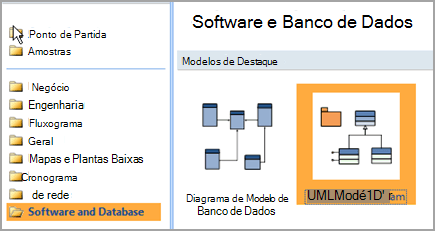 Selecione o banco de dados e Software
