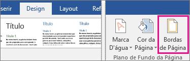 O ícone Borda de Página está realçado na guia Design