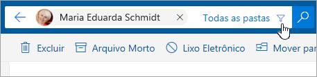 Uma captura de tela do botão de filtro na barra de pesquisa