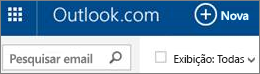 Barra de menus do Outlook.com